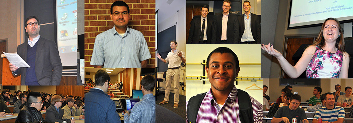 Collage of 9 photographs; Students and faculty speaking, talking, and eating lunch at multiple Brown Bag Lunches.