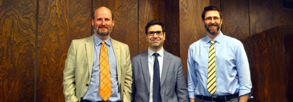 Distinguished lecturer Phil Guebelle (left) with GT-AE professors Julian Rimoli and Marcus Holzinger