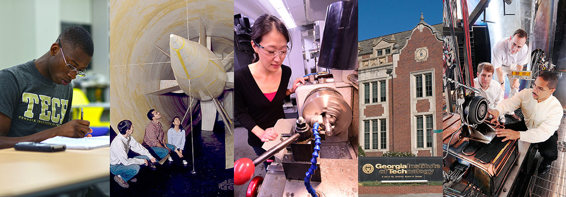 collage of 5 photos: a student studying; three students in a wind tunnel; a student working on a lathe; the front of the Guggenheim building; a professor and two students in the HPEP lab