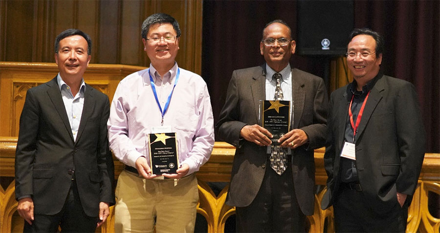 Unmanned Systems' Editors-in-Chief, Lihua Xie (left-most) and Ben M. Chen (right-most) with Professor Zongli Lin of the University of Virginia (centre-left) and Professor J V R Prasad of Georgia Tech (centre-right) representing their papers' co-authors as recipients of the journal's Best Paper (2016-2017) Award